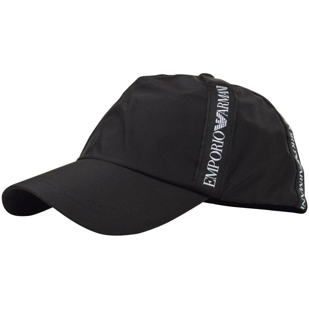 7bc1f74c Side view of Black Emporio Armani tape logo detailed baseball cap
