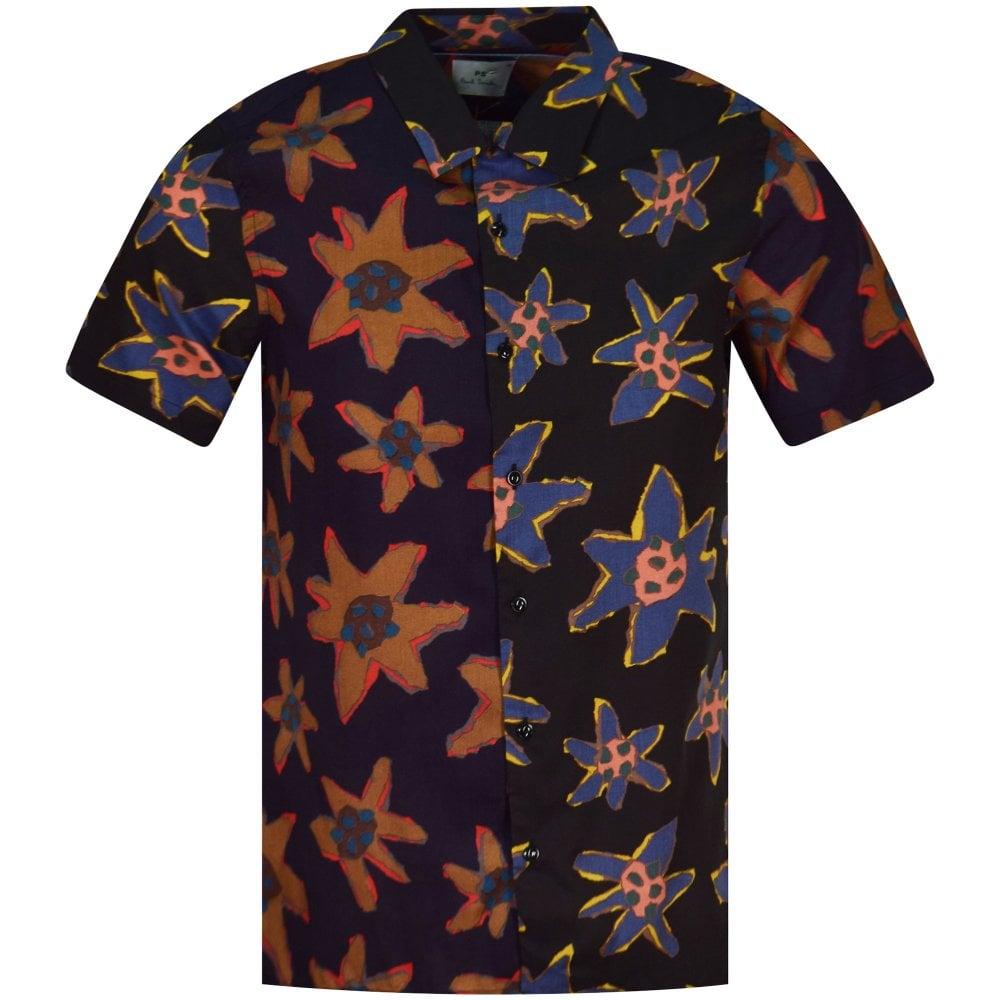 bc2b08861 PS PAUL SMITH Black Torn Floral Print Short Sleeve Shirt ...