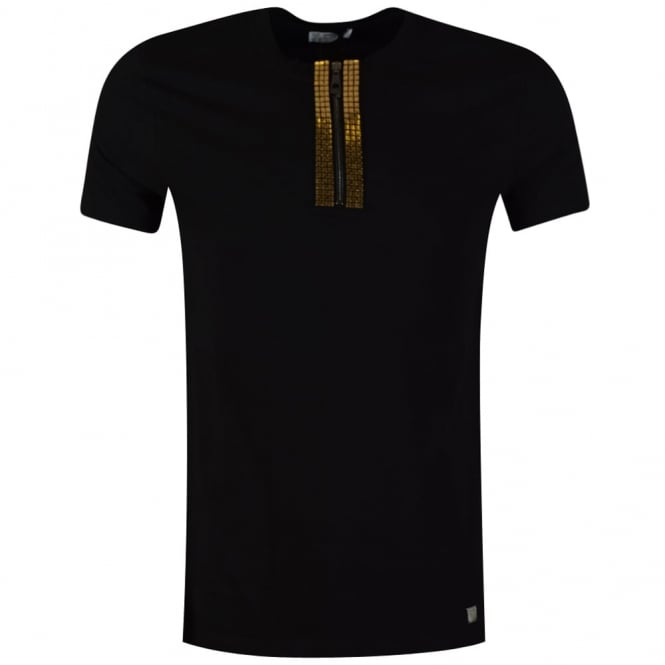 cheapest sale outstanding features famous brand Black T-Shirt With Henley Collar