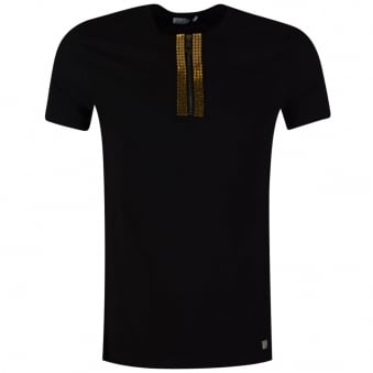 Black Versace Collection T-Shirt With Henley Collar