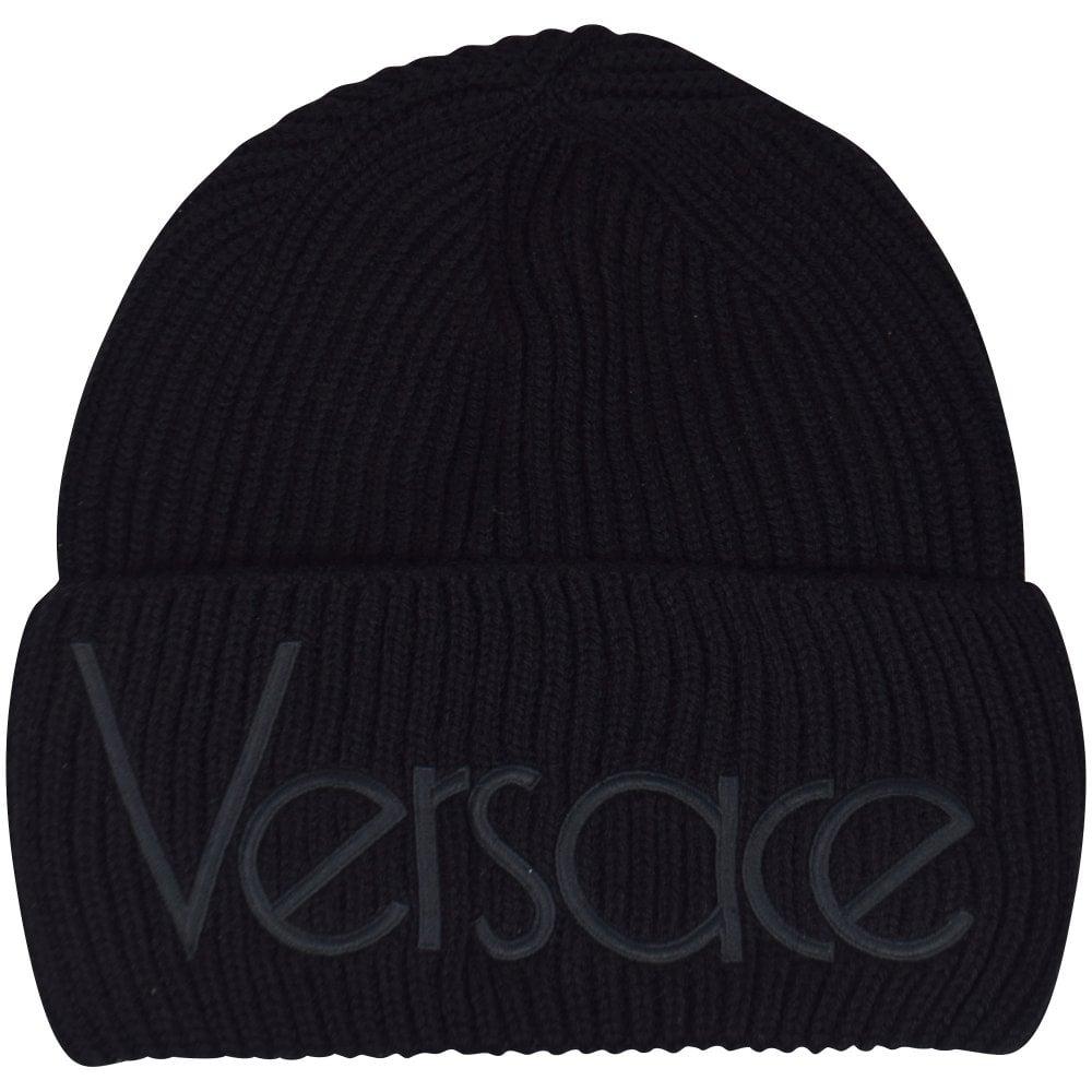 4807c197 VERSACE Black Vintage Logo Beanie Hat