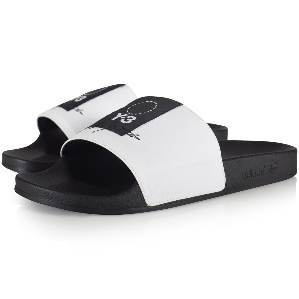 cf046eec4fe31 ADIDAS Y-3 Black White Adilette Sliders - Men from Brother2Brother UK