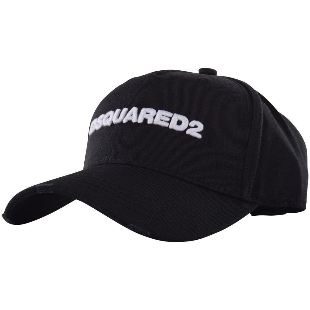4d2e5c408b9 DSQUARED2 Black White Embroidered Logo Baseball Cap - Men from ...