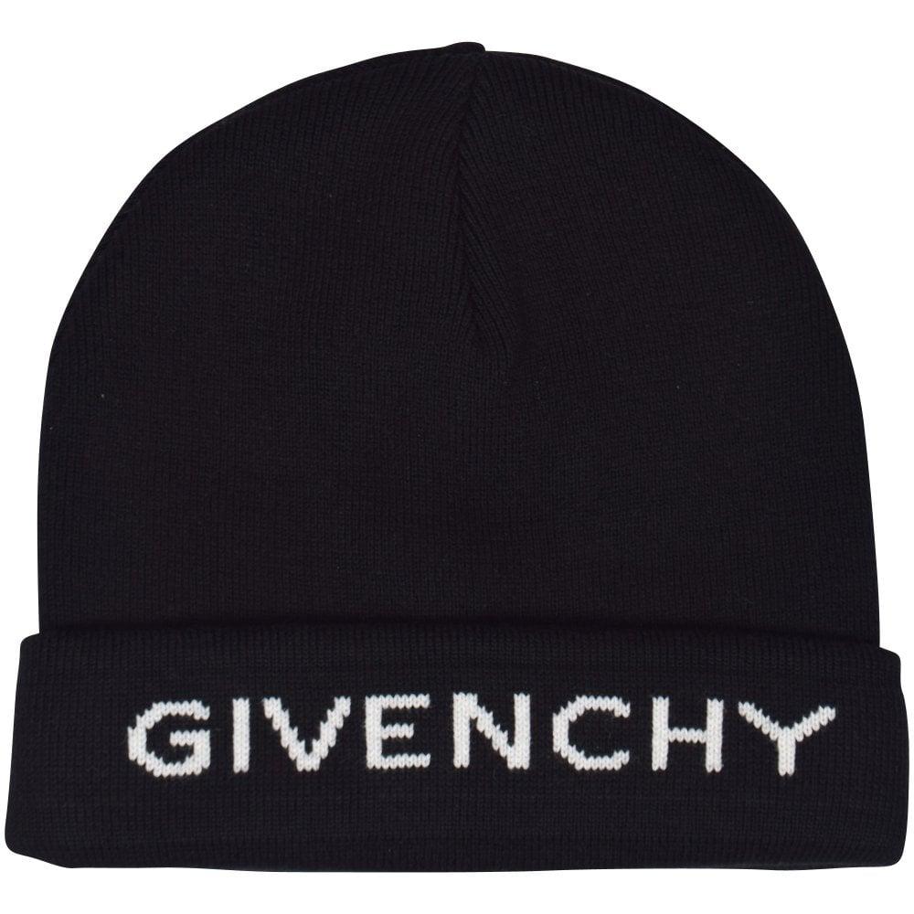 e95c55ffc9f GIVENCHY Black White Logo Beanie Hat