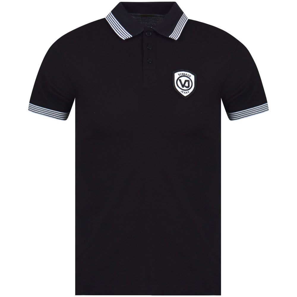 fd5eafb28 VERSACE JEANS COUTURE Black/White Logo Trim Polo Shirt - Department ...