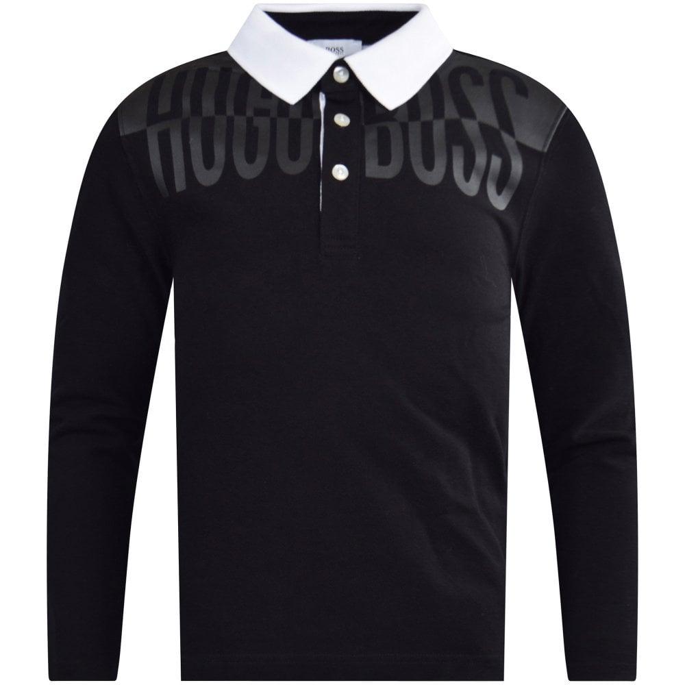 c5bb0dd7d HUGO BOSS JUNIOR Black/White Long Sleeve Polo Shirt - Junior from ...