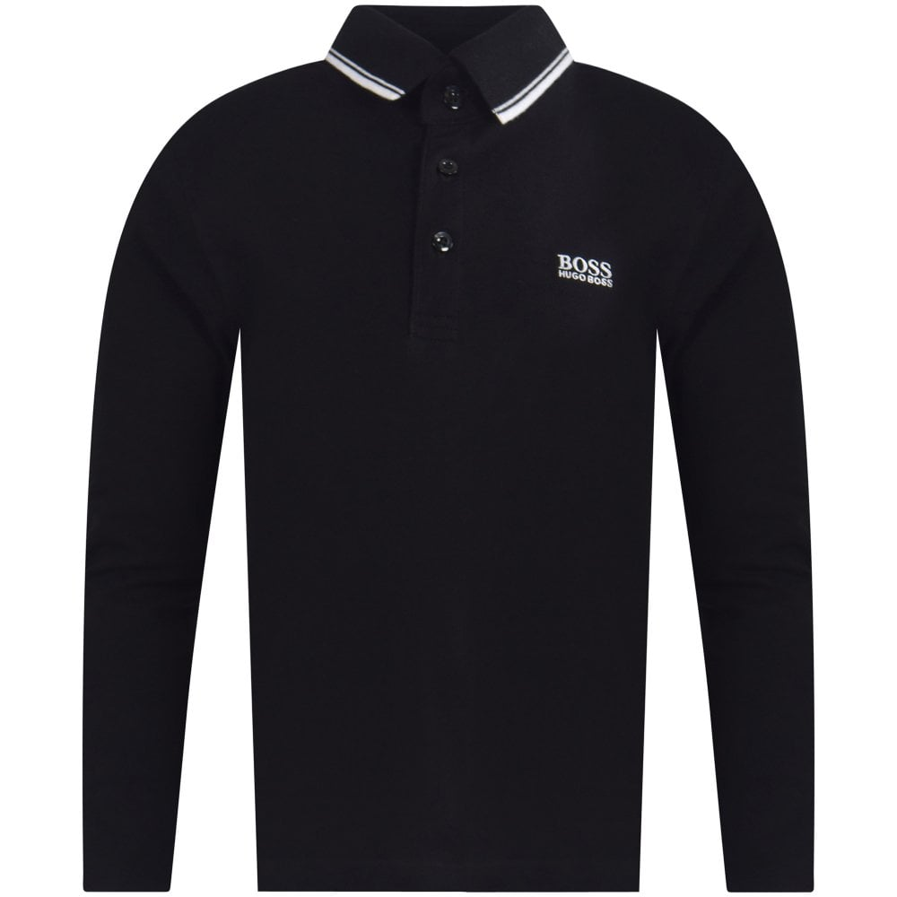 80e2362b7 HUGO BOSS JUNIOR Black/White Long Sleeve Polo Shirt - Junior from ...