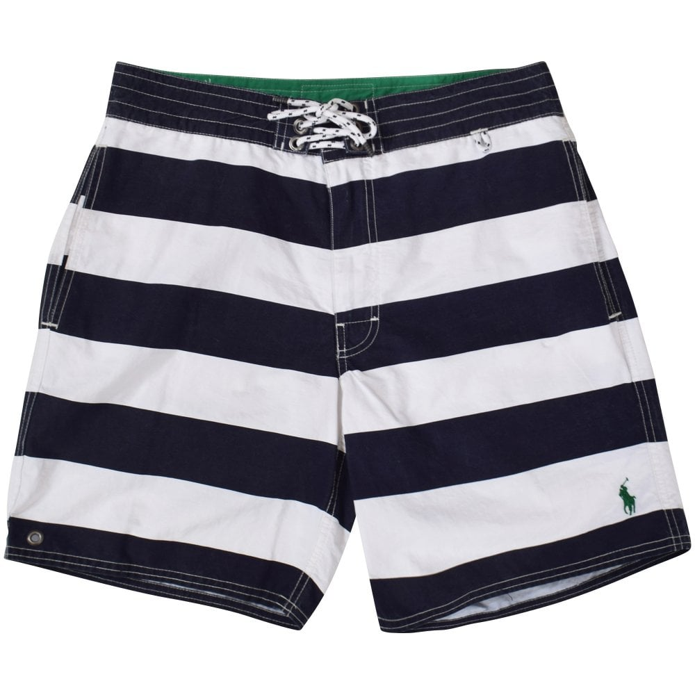 060e086bb6 POLO RALPH LAUREN Black/White Stripe Swim Shorts - Department from ...