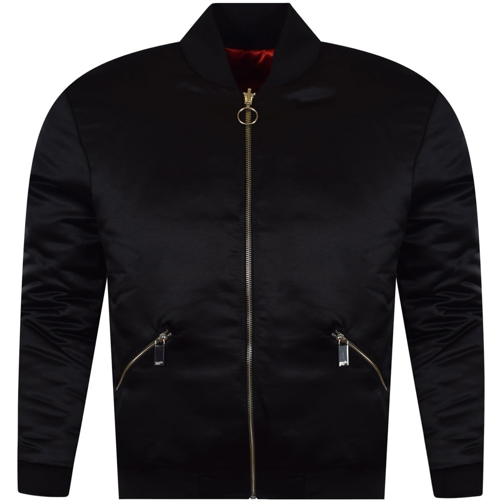 f17186cac Black/Red Satin Reversible Bomber Jacket