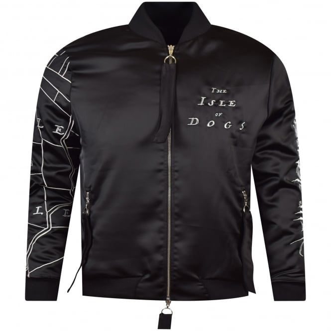 BLOOD BROTHER Black Silk Isle of Dogs Bomber Jacket