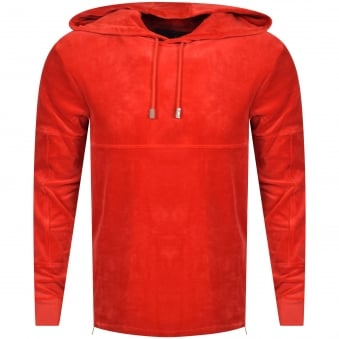 Blood Brother Red Velour Pullover Zip Hoodie