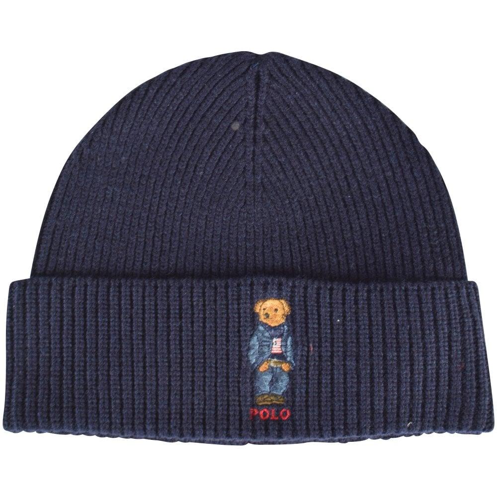 64c217d2640c25 POLO RALPH LAUREN Blue Bear Logo Beanie Hat