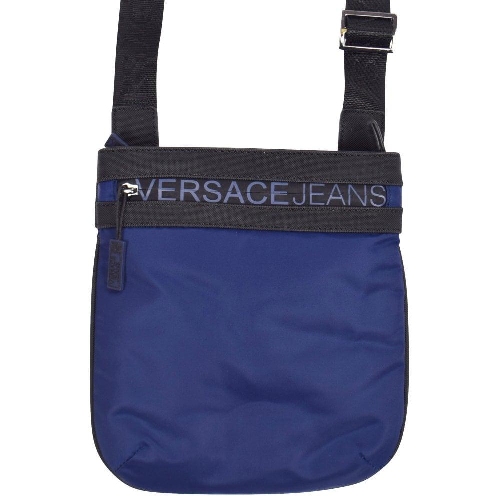 VERSACE JEANS Blue Black Logo Shoulder Bag - Men from Brother2Brother UK c85ba0d3b58d9