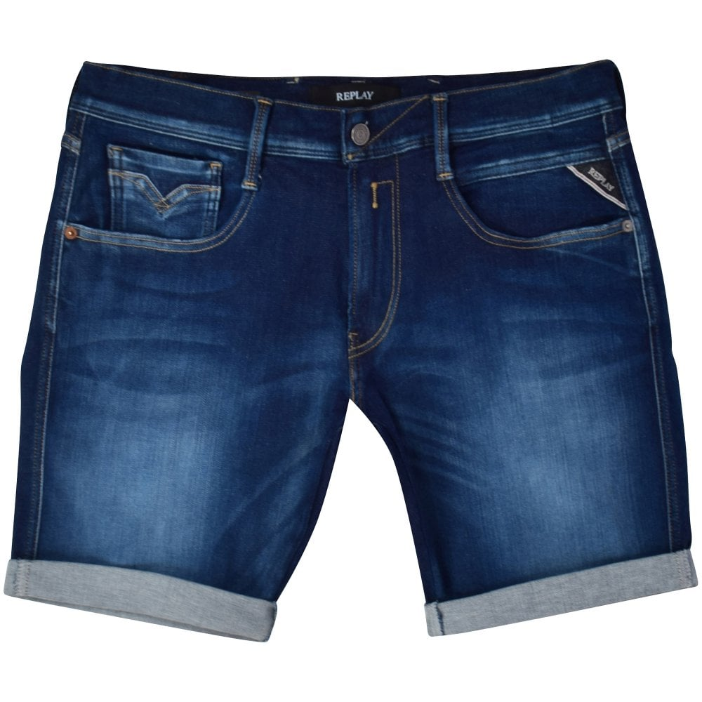 5715f1318a REPLAY Blue Denim Anbass Shorts - Men from Brother2Brother UK