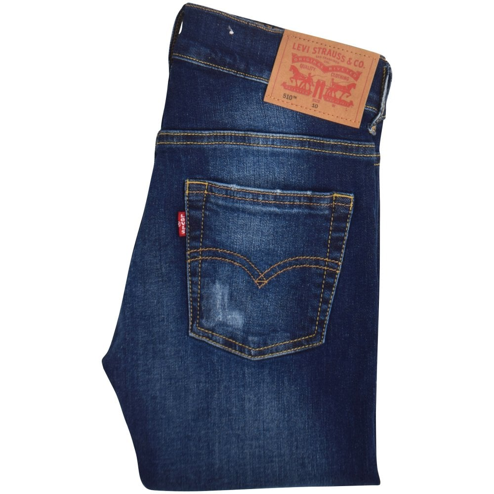 LEVIS JUNIOR Blue Distressed 510 Skinny Jeans - Junior from ... 0865a824ef79