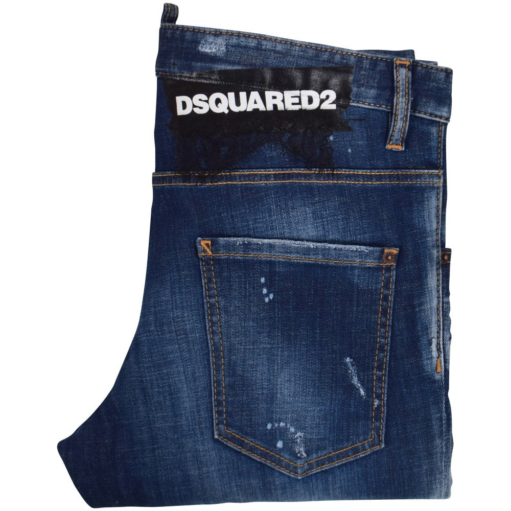 72d9057f DSQUARED2 Blue Distressed Skater Jeans - Department from ...