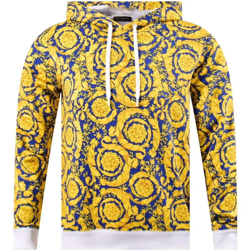 ba04e12c94 Blue/Gold Baroque Print Hoodie