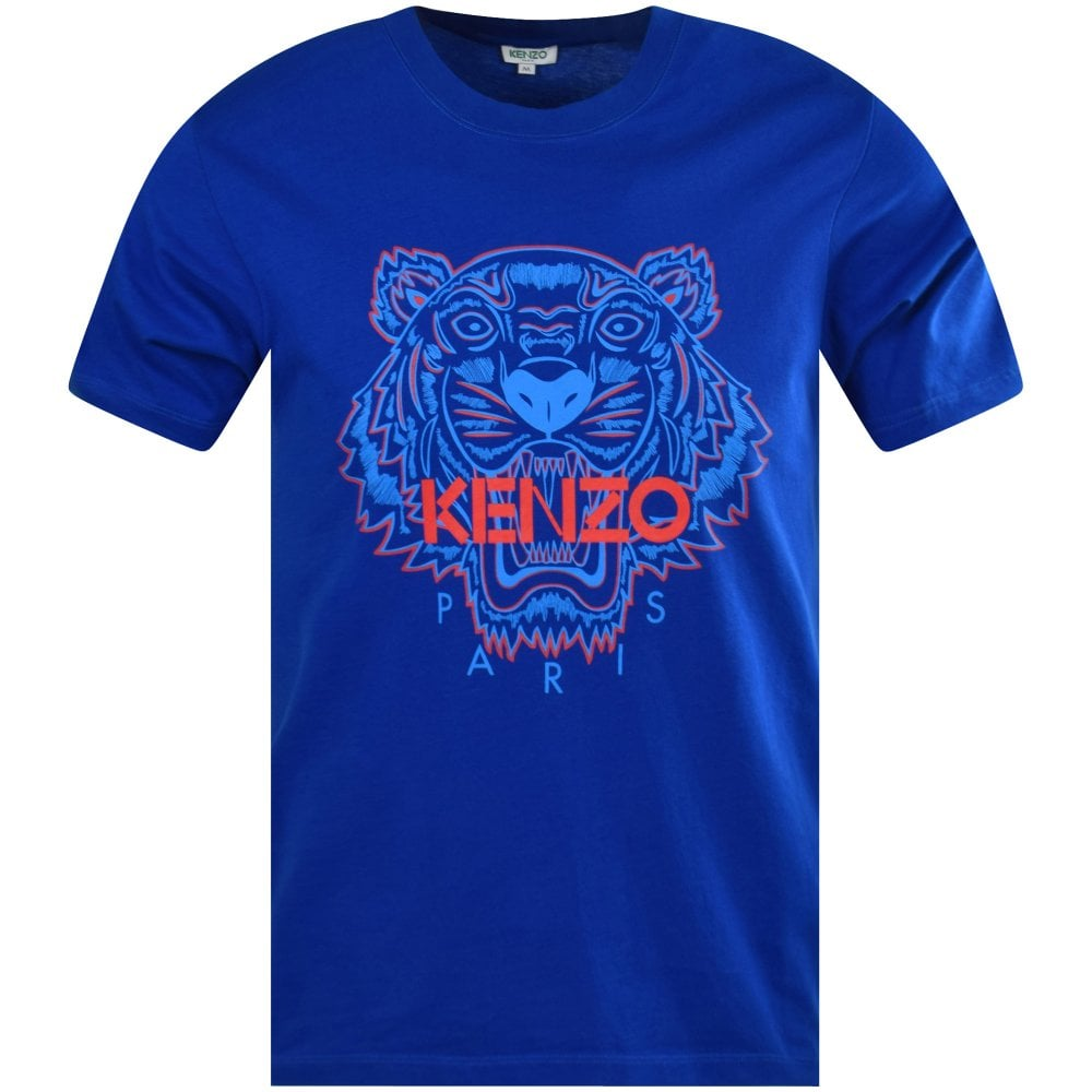 0b764705 KENZO Blue Two-Tone Tiger Logo T-Shirt - Department from ...