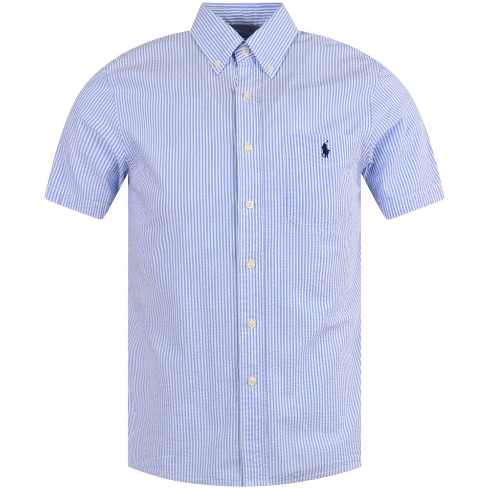 358313f1 Blue/White Cotton Seersucker Short Sleeve Shirt