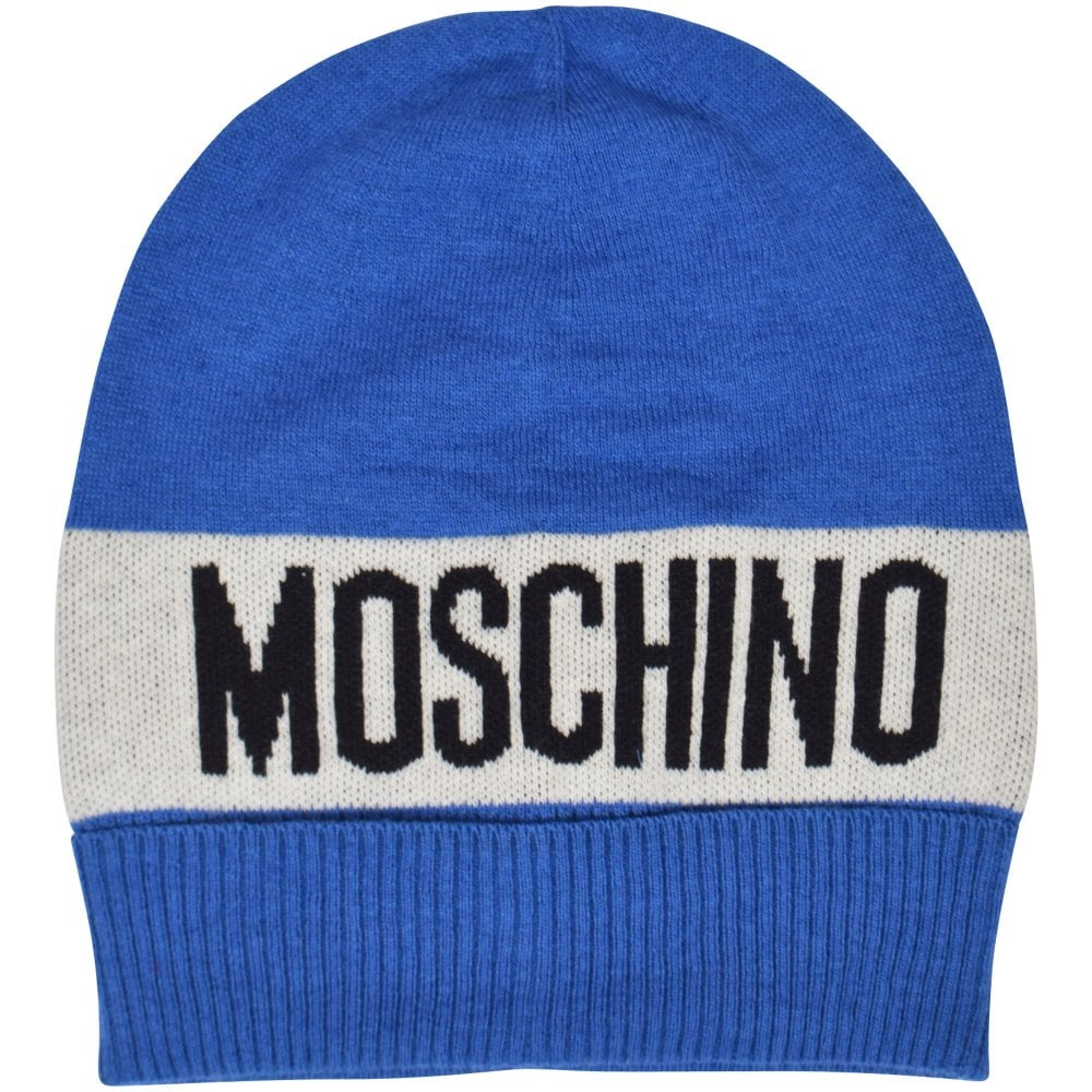 MOSCHINO TEEN Blue White Logo Beanie Hat - Men from Brother2Brother UK ba1ef44857a