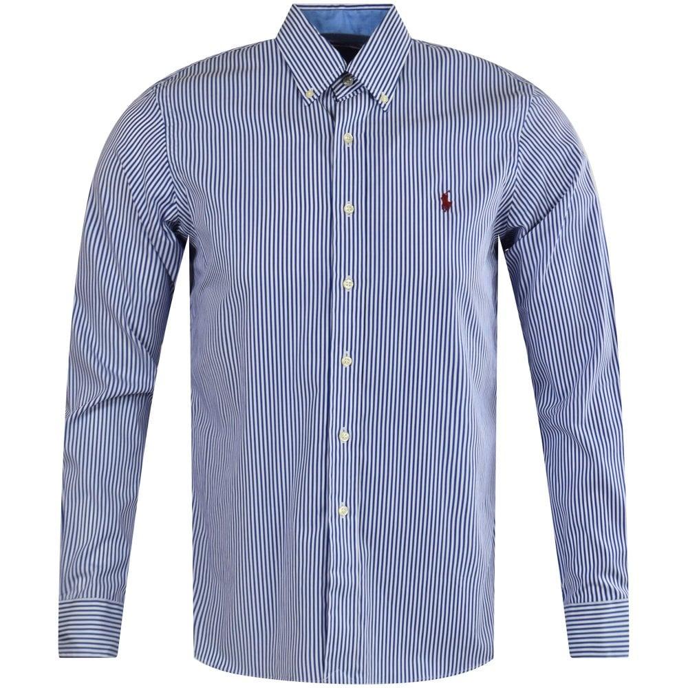 aa552319e087 POLO RALPH LAUREN Blue White Stripe Long Sleeve Shirt - Men from ...