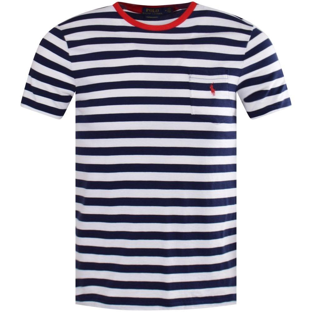 cf650a575e Blue/White Stripe Pocket Logo T-Shirt