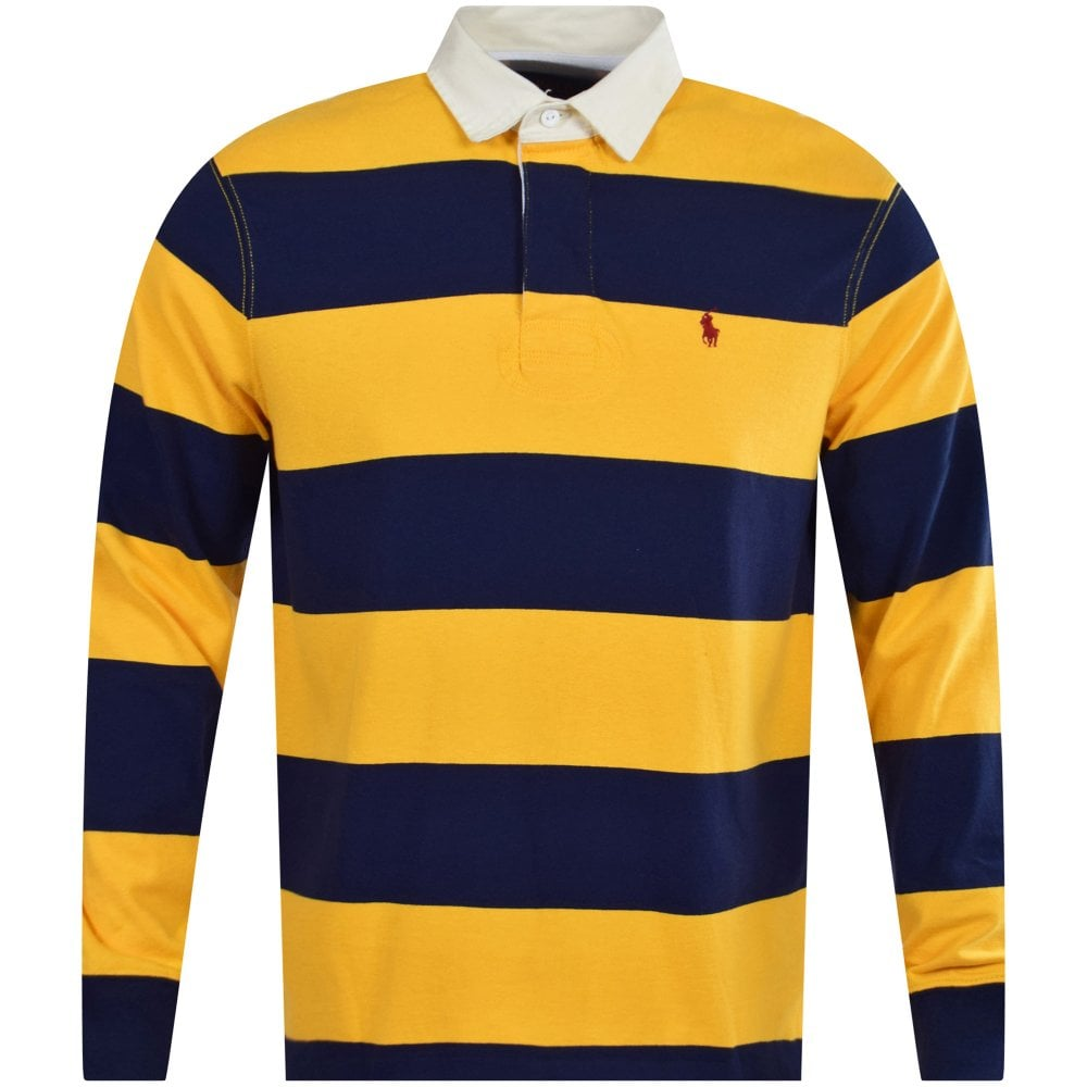 dcee78868 POLO RALPH LAUREN Blue Yellow Stripe Rugby Polo Shirt - Department ...