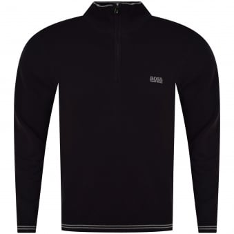 Boss Athleisure Black Quarter Zip Logo Jumper