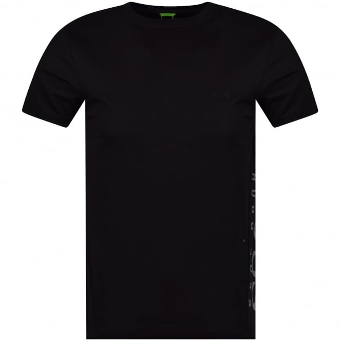 BOSS ATHLEISURE Black/Reflective Side Logo Slim Fit T-Shirt