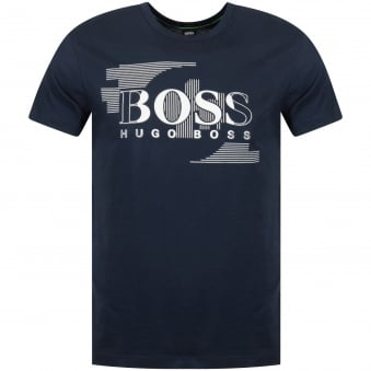 Boss Athleisure Green Navy Logo Print T-Shirt