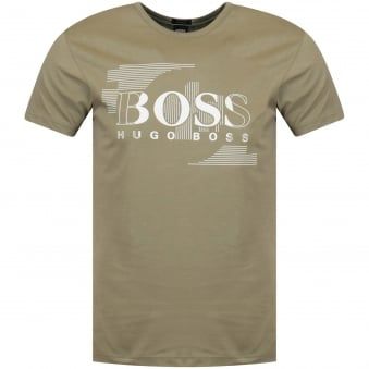 Boss Athleisure Open Green White Print T-Shirt