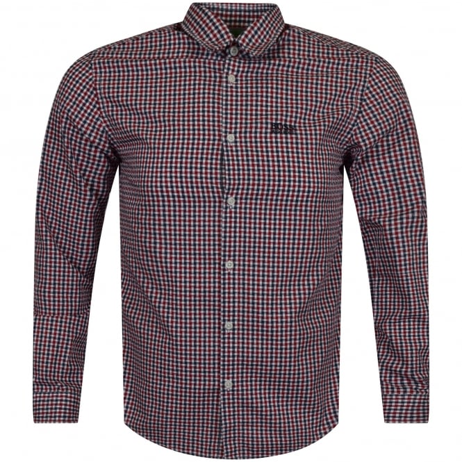 BOSS ATHLEISURE Red Check Logo Shirt