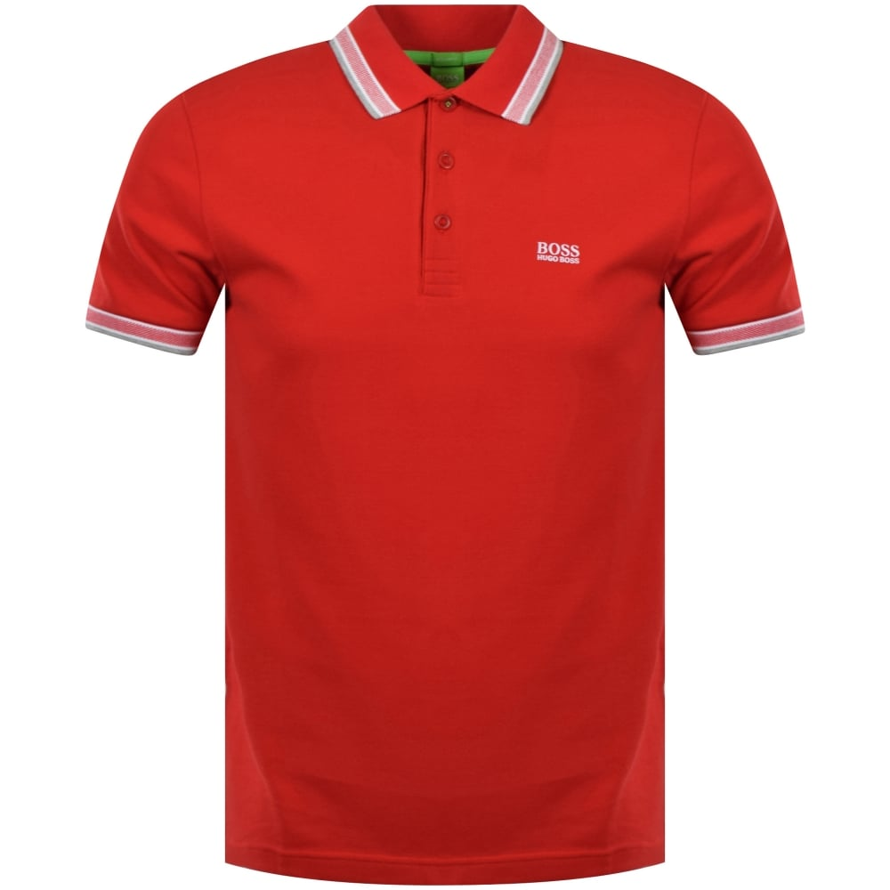 a29be48536b4 BOSS ATHLEISURE Boss Athleisure Red 'Paddy' Button Polo Shirt - Men ...