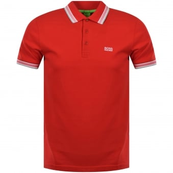 Boss Athleisure Red 'Paddy' Button Polo Shirt
