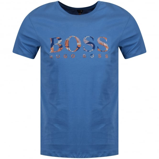 BOSS CASUAL Blue/Orange Logo T-Shirt