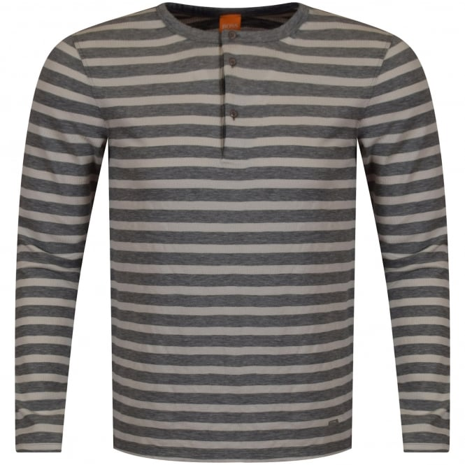 BOSS CASUAL Grey/Off White Striped Button Neck Long Sleeve T-Shirt