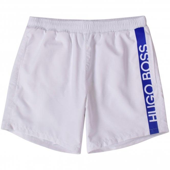 BOSS White/Blue Panel Swim Shorts Front