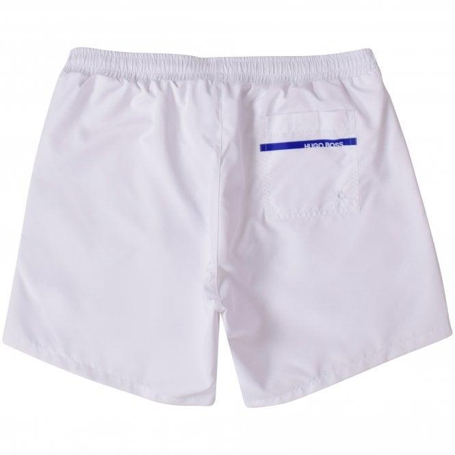 BOSS White/Blue Panel Swim Shorts Reverse