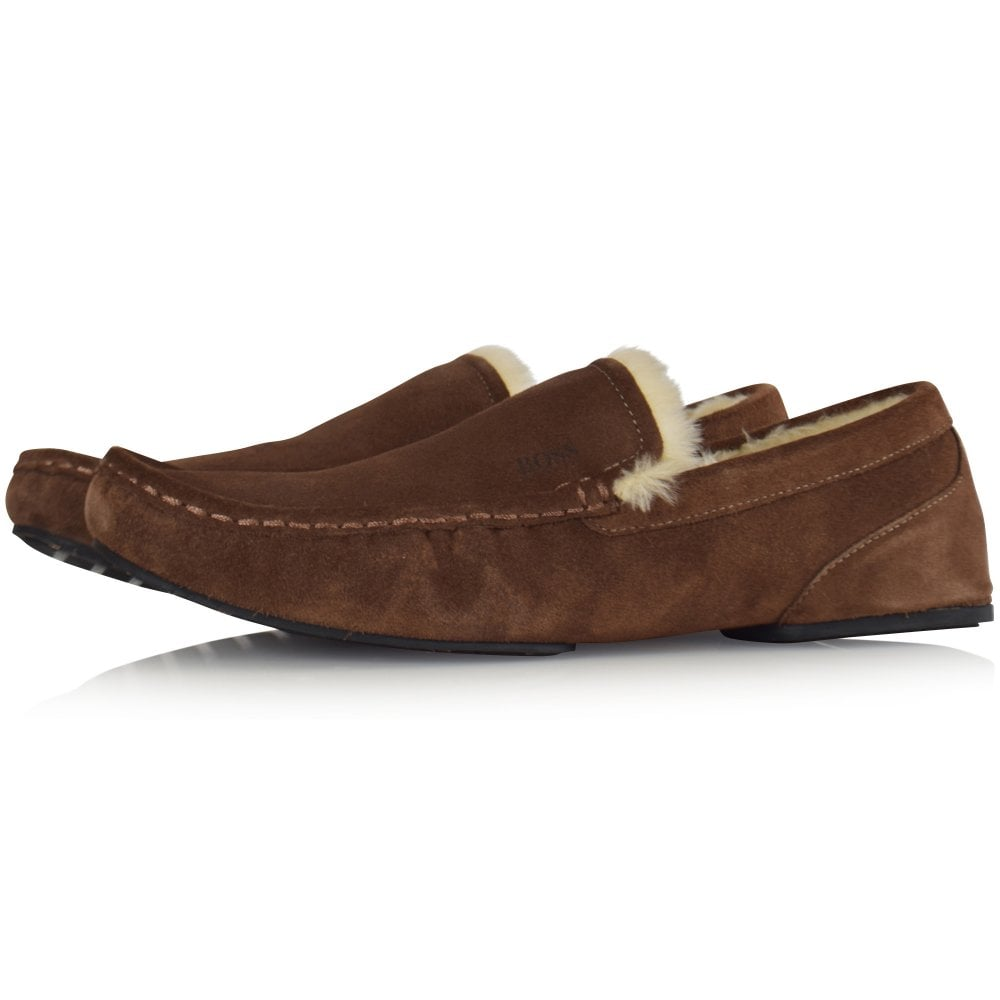 f829ab762376 BOSS Brown Suede Moccasin Slippers