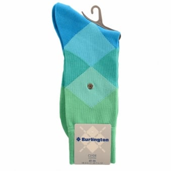 Burlington Clyde Green 7280 Baumwool Cotton Socks