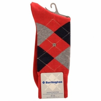 Burlington Manchester Red 8006 Baumwool Cotton Socks