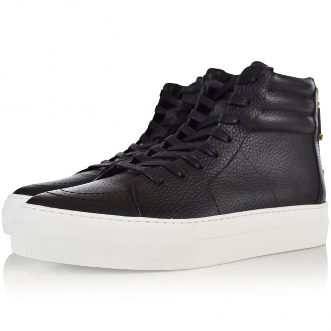 BUSCEMI Black Leather Hi Top 140MM Zip Trainers