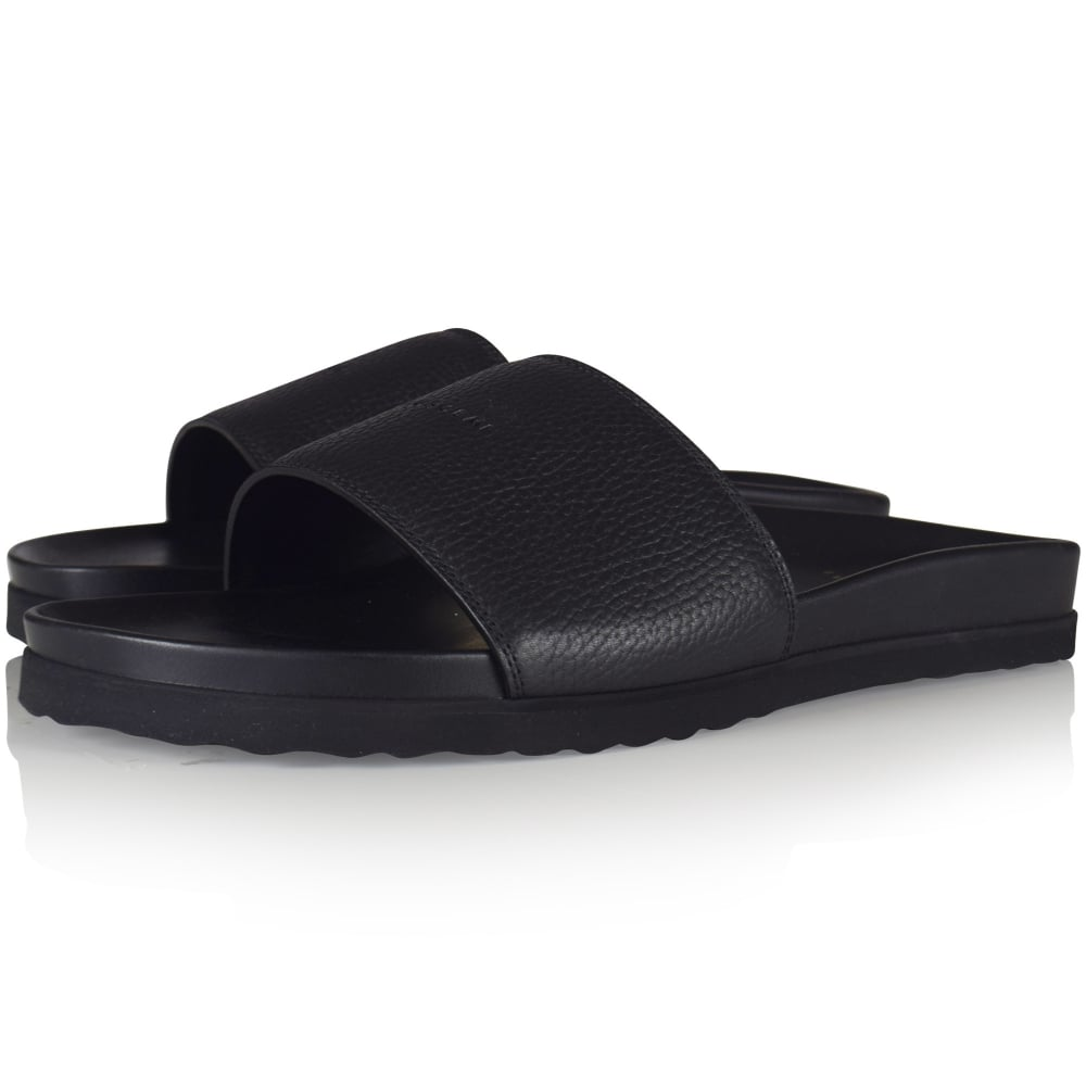 b2eeb9f512c896 BUSCEMI Buscemi Black Logo Embossed Leather Pool Sliders - Men from ...