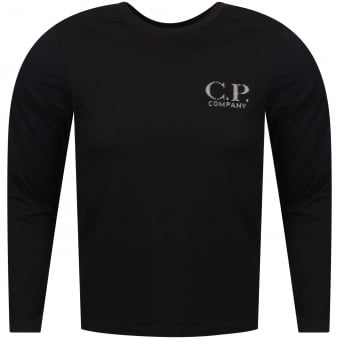 C.P. Company Black Long Sleeved Logo T-Shirt