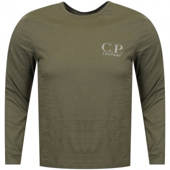 C.P. Company Dark Olive Long Sleeved Logo T-Shirt