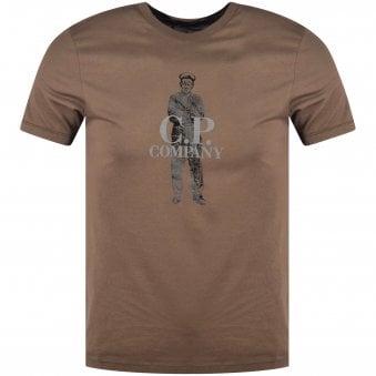 c0c41987 C.P. Company Dark Olive Short Sleeve Logo T-Shirt