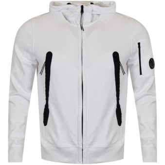 C.P. Company White Goggle Zip Through Hoodie