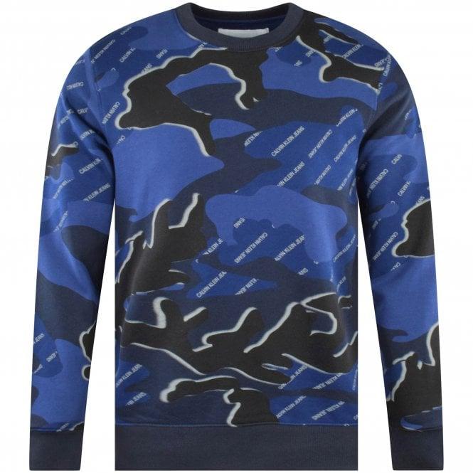 CALVIN KLEIN JEANS Camo Blue Print Sweatshirt Front