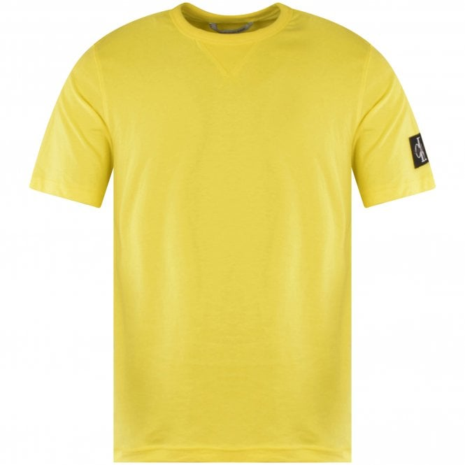 CALVIN KLEIN JEANS Yellow Embroidered Patch T-Shirt Front