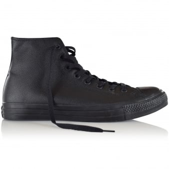 Converse Black Leather Hi-Top Trainers